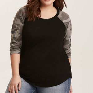 Torrid black with camo sleeve raglan tee size 2